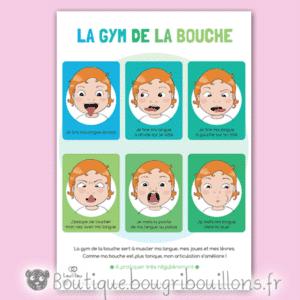 Planche 1/3 et cartes à découper sur la gym de la bouche - orthophoniste