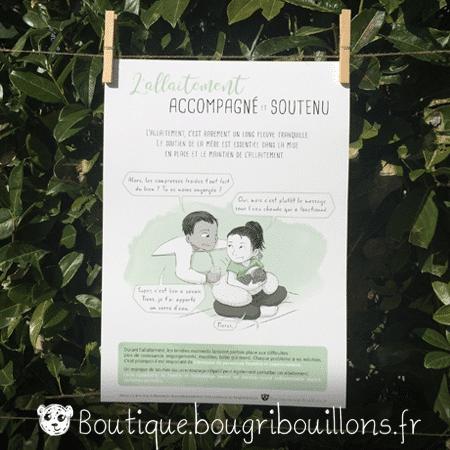Affiche allaitement imprimée 2 - L'allaitement ça s'apprend - Bougribouillons