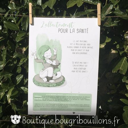 Affiche allaitement imprimée 3 - L'allaitement ça s'apprend - Bougribouillons