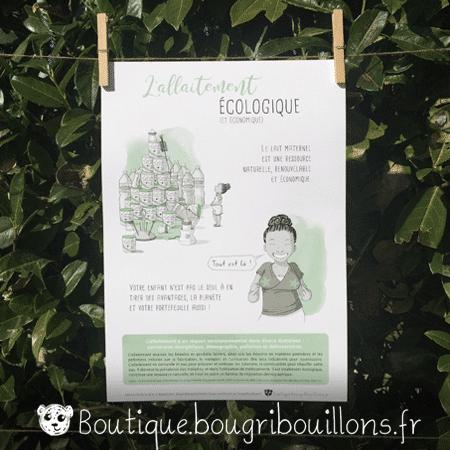 Affiche allaitement imprimée 5 - L'allaitement ça s'apprend - Bougribouillons