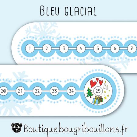 Frise de l'avent Bougribouillons - Bleu glacial