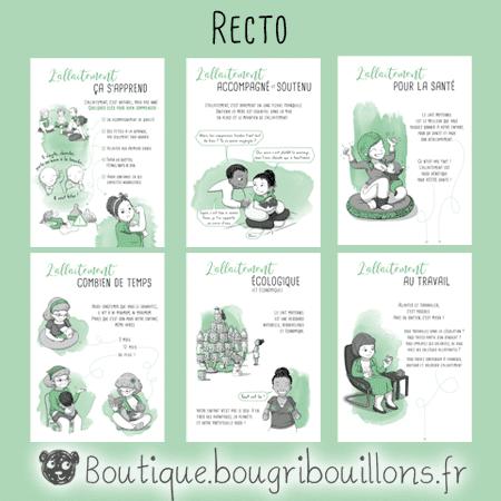 6 fiches A5 recto sur l'allaitement - Bougribouillons