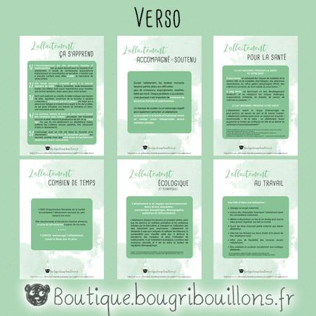 6 fiches A5 verso sur l'allaitement - Bougribouillons