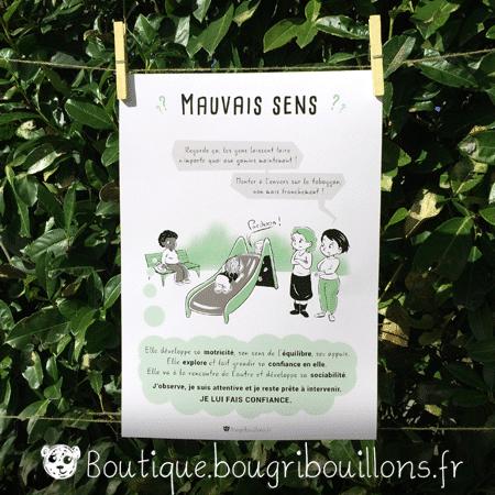 Monter le toboggan à l'envers - Affiche imprimée Bougribouillons Petite enfance